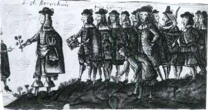 Ole Borch botaniserer med sine disciple. Billede fra Borchs elev og senere kollega prof. Holger Jacobæus' rejsebog.